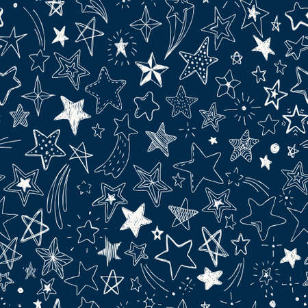 Vector kids pattern with doodle textured stars. Vector seamless background, black, gray, white, scandinavian style.