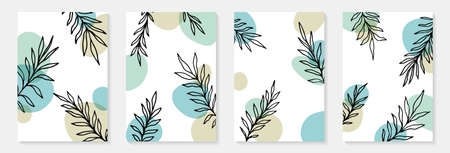 Creative minimalist hand draw Abstract art background. Modern aesthetic illustrations. Bohemian style Collection of contemporary artistic Design for wall decoration, postcard, poster, brochure.