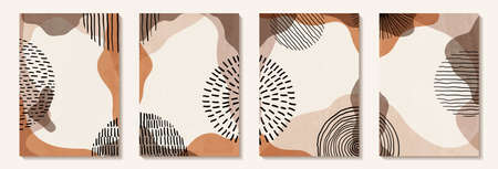 Creative minimalist hand draw Abstract art background with stainshape elements and Hand Drawn doodle Scribble Circle. Design for home wall decoration, postcard, poster or brochure.
