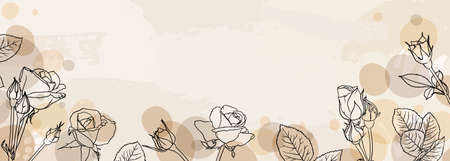 banner background of creative minimalist hand draw illustrations floral outline rose pastel biege simple circle shape for wall decoration, postcard or brochure cover design, banner beauty web cite.
