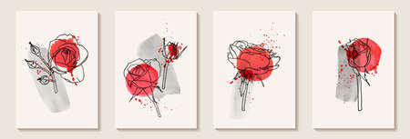 Set of creative minimalist hand draw illustrations floral outline with pink watercolor stain and splash. Design for wall decoration, postcard or brochure cover design.