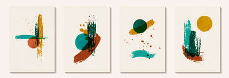 Creative minimalist hand painted Abstract art background with brush stroke abstract art. Design for wall decoration, postcard, poster or brochure, home decoration.