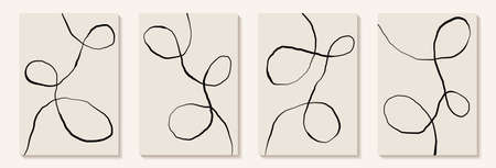 Creative minimalist hand draw Abstract art background with black and white line curl. Design for wall decoration, postcard, poster or brochure