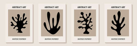 Matisse inspired modern posters with abstract branches. Set of modern wall art. Contemporary minimalist organic shapes Matisse style. Design for wall decoration, postcard, poster or brochure. Vectores