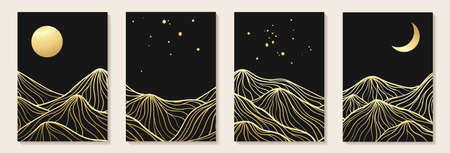 Abstract art mountain black and golden line-art modern style graphic background. Abstract geometric background. line art landscape Design for wall decoration, postcard or brochure cover design