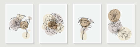 Set of creative minimalist hand draw illustrations rose floral outline pastel biege simple shape and brush stroke for wall decoration, postcard or brochure cover design. Vectores