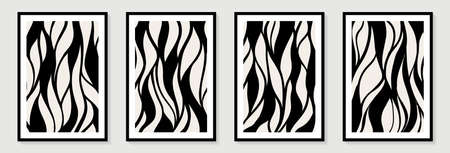 Creative minimalist hand painted Abstract art background with black abstract line shape. Design for wall decoration, postcard, poster or brochure. Modern card for decorative design.