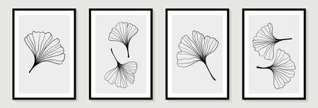 Set of creative minimalist hand draw illustrations floral outline ginkgo biloba leaves linear black and white background. for wall decoration, postcard or brochure cover design. Vectores