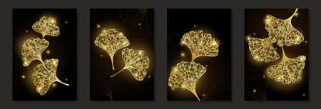 Set of creative minimalist hand draw illustrations floral outline golden ginkgo biloba leaves on black background. for wall decoration, postcard or brochure cover design.