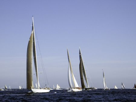 battling: Modern and traditional sailing yachts battling for position Stock Photo
