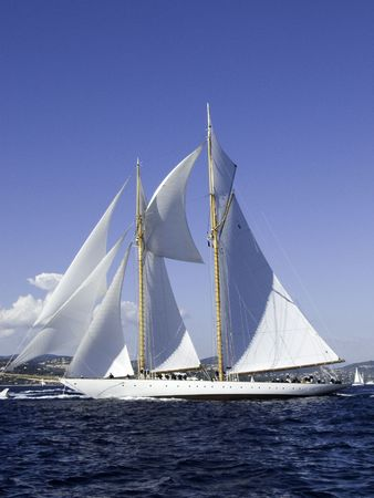 build in: Classic sailing yacht  a 45 m goelette aurique build in 2000 full and by in the mistral