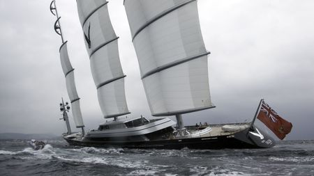 schooner: Hi-tech schooner  setting sails to a gale