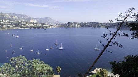 villefranche sur mer: Anchoring Bay of Villefranche sur Mer on a calm autumn day