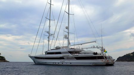 vacance: Islander was build as The Other Woman by Australian Yacht Builders in 1991. She is one of the biggest motor sailers of the world and both for sale and charter. Stock Photo
