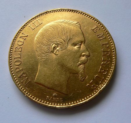 100 F pure gold coin France, Napoleon III Stock Photo - 675291