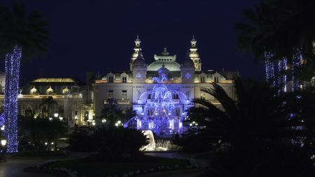 carlo: Christmas illumination of the Casino square and gardens in Monte Carlo Monaco