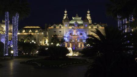 monte: Christmas illumination of the Casino square and gardens in Monte Carlo Monaco