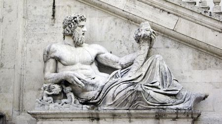 greek god: marble Sculpture of greek god contemplating on the steps of Capitoline hill in Rome