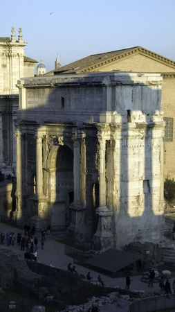 The Tabularium is at the western extreme of the Forum Romanum and situates numerous temples Banco de Imagens