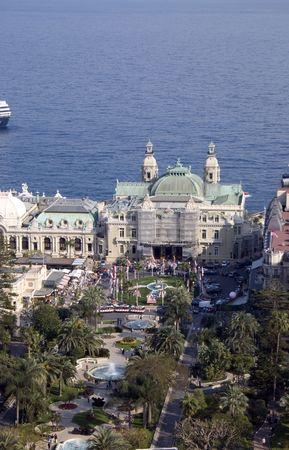 monte: the Casino square in Monte Carlo Monaco with a sea backdrop view from the top Stock Photo