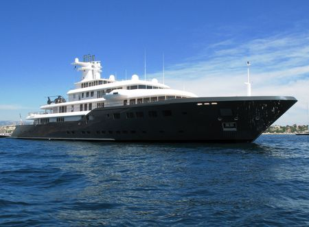 90: Motor yacht Ice launched as Air, a 90 m Luerssen build for Russia Stock Photo