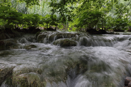 water running fast in the river at Plitvice lakes in Croatia Stock Photo
