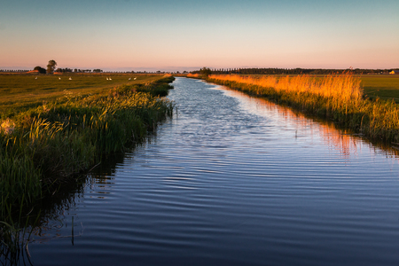 Beautiful ditch in the Netherlands, province Friesland, nearby the village Harich region Gaasterland Stock Photo
