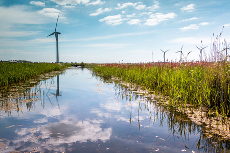 Beautiful ditch and windmills as background, the Netherlands, province Friesland, region Gaasterland