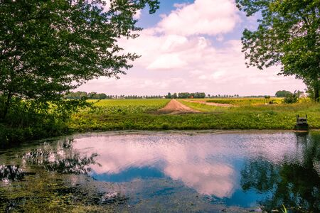 Taking a hike in the water course in the Netherlands, Flevoland province nearby Marknesse, view on farming land Foto de archivo