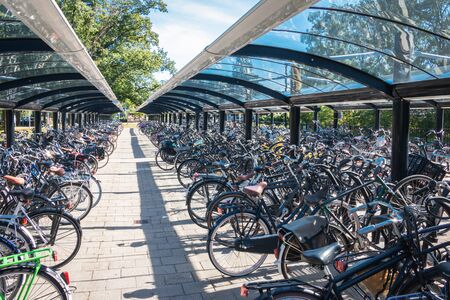 Typical dutch scene of a bicycle storage with a lot of bicycles at the train station in Ommen province Overijssel the Netherlands