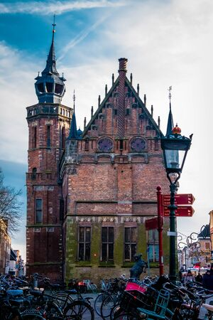Old medieval city townhall in the Hanze city Kampen, was used in the middle ages by the municipal authorities Stock fotó