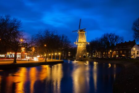 Beautiful windmills in Schiedam province South Holland, the highest windmills in the world also known as burner mills were used for grinding grain that was used for the gin industry.