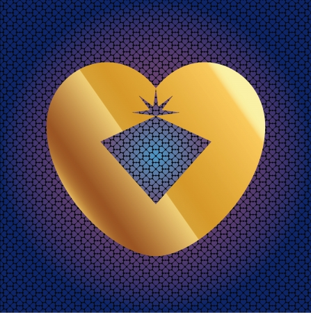 adamant: Brilliant In Golden Heart On Seamless Hearts Pattern Illustration