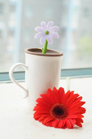 Cute cup with rubber flower beside sunny windows