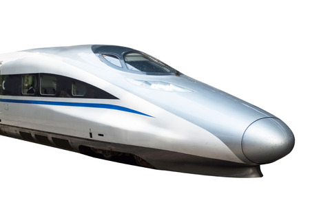 streamlining: high speed train isolated in white background Editorial