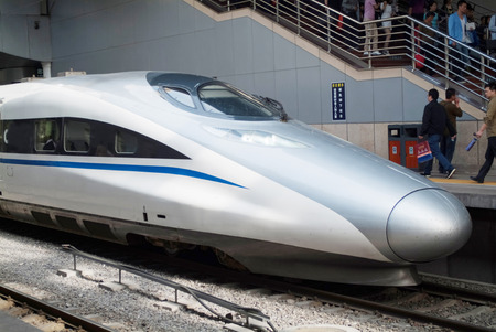 High speed train in Beijing railway station in China Editorial