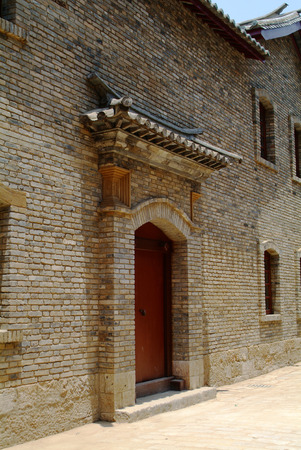 chinese courtyard: Gate of Chinese old building Editorial