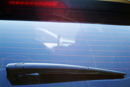 wiper: Close up of windshield wiper and wet car glass Stock Photo
