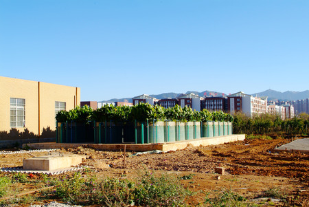 enclosed: The panoramic view of a fully enclosed advance waste water treatment plant in Kunming.