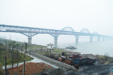 suspension: jiujiang yangtze river suspension bridge