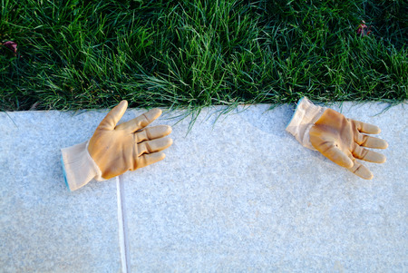 groundbreaking: Gardening gloves  on the grassland Stock Photo