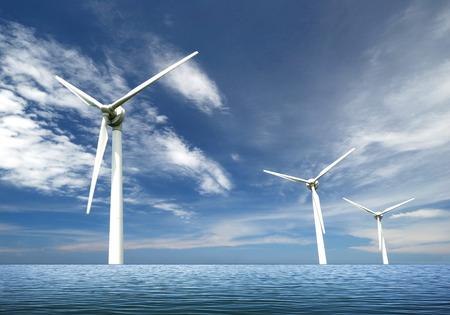 viento: Turbinas de viento en el mar