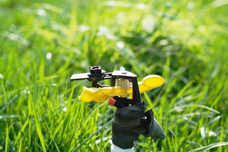Sprinkler spraying water in the park