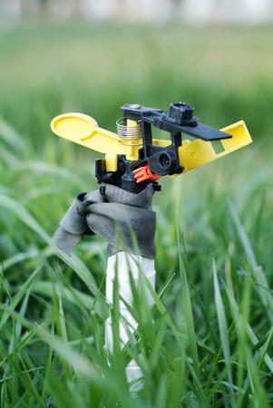 meadowland: Irrigation sprinkler watering grass. Backlit horizontal. Stock Photo