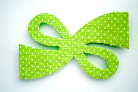 Green Hairpins of plaid butterfly shape