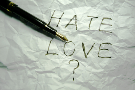 crumple: love or hate written on a crumple paper