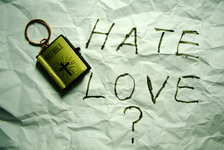 hate: hate love choose question concept