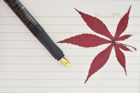 maple leaf and pen Stock Photo