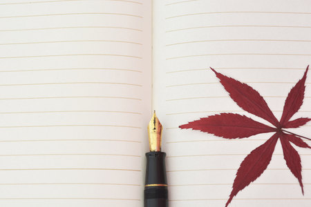 楓葉和筆記本紙 新聞圖片