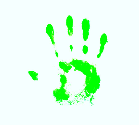 authenticity: man green hand print isolated